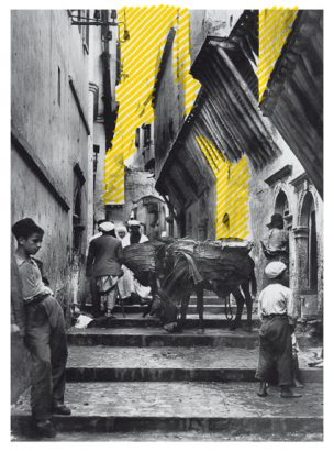 Kasbah Algier, Rue N'Fissah, Postkarte Edition la Cigogne, 20 Boulevard Carnot, Alger. Fotografie, 2012, Auflage 1/3, Mit Pigmentmarker überarbeitet, Inkjetprint auf Hahnemühle Photorag, 37 x 27 cm, Passepartout, Rahmen, 50 x 40 cm